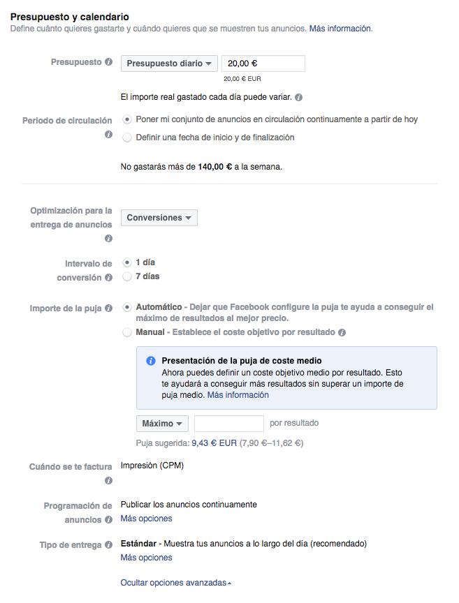 B&H_Presupuesto y calendario en Facebook Ads